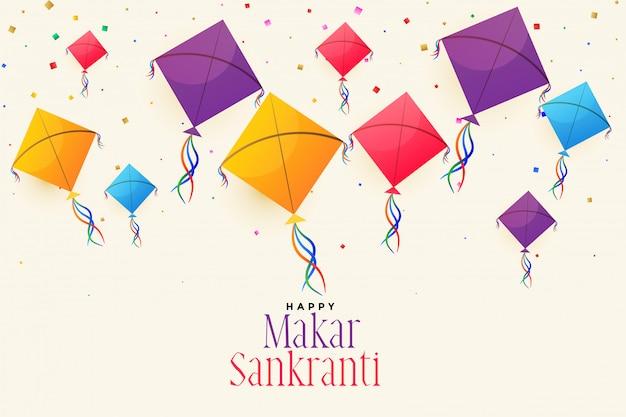 Kleurrijke vliegende vliegers voor makar sankranti festival