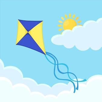 Kleurrijke vlieger die in blauwe hemel met wolken vliegt