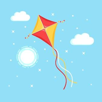 Kleurrijke vlieger vliegen in blauwe lucht, zon geïsoleerd op de achtergrond