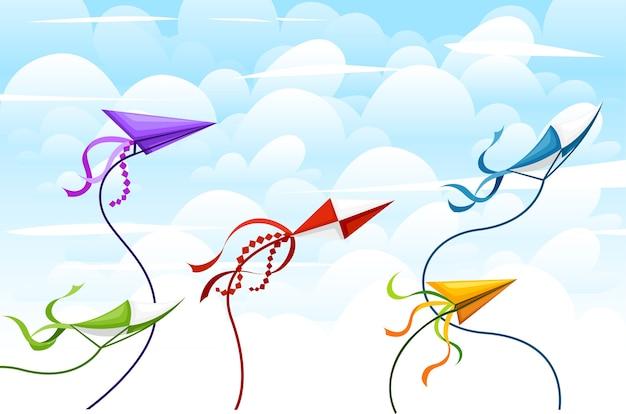 Kleurrijke vliegercollectie. objecten voor buitenactiviteiten in de zomer. leuk vliegend speelgoed. vakantie kinderentertainment. illustratie met lucht en wolken achtergrond.