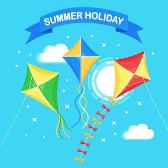 Kleurrijke vliegeren in blauwe lucht, zon geïsoleerd op de achtergrond. zomer, voorjaarsvakantie, speelgoed voor kind. plat ontwerp