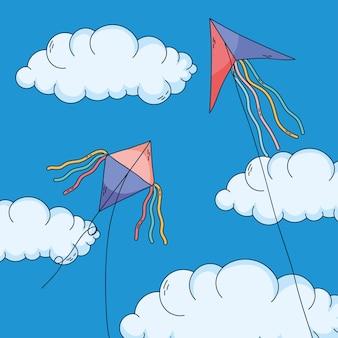 Kleurrijke vliegers die in de lucht vliegen