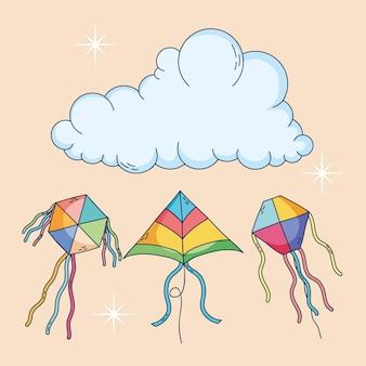 Kleurrijke vliegers en wolkenontwerp