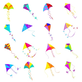 Kleurrijke vliegerset. speelgoedontwerp, objectgroep voor activiteitsspel, vliegvrijheid