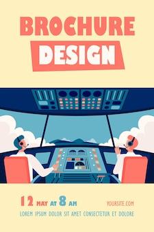 Kleurrijke vliegtuigcockpit geïsoleerde flyer-sjabloon