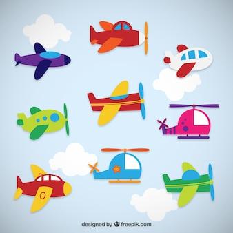 Kleurrijke vliegtuigen collectie