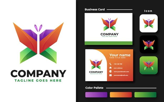Kleurrijke vlinder logo sjabloon en visitekaartje