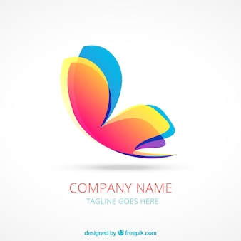 Kleurrijke vlinder logo