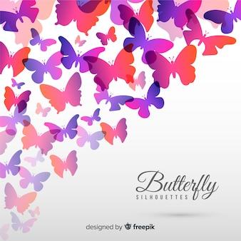 Kleurrijke vlinder silhouetten achtergrond