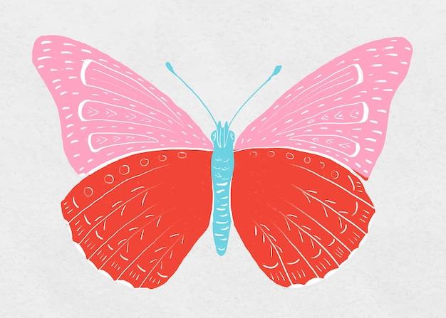 Kleurrijke vlinder vintage tekening clipart