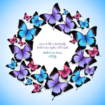 Kleurrijke vlinders cirkel frame patroon