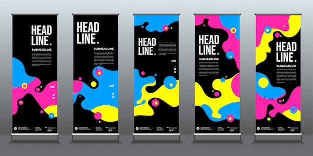 Kleurrijke vloeibare en vloeibare achtergrond voor roll-up banner