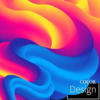 Kleurrijke vloeiende abstracte ontwerpachtergrond met color design-tekst