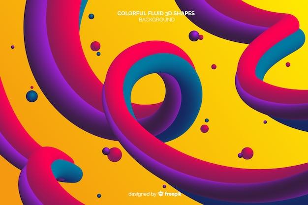 Kleurrijke vloeiende driedimensionale vormen achtergrond