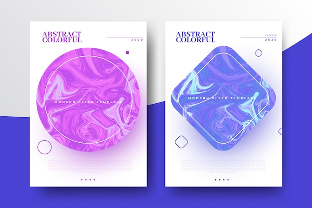 Kleurrijke vloeistof effect folder sjabloon