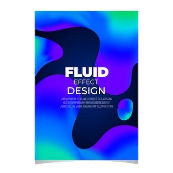 Kleurrijke vloeistof effect poster sjabloon