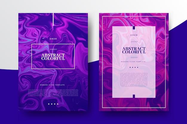 Kleurrijke vloeistof effect posters sjabloon