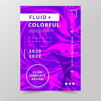Kleurrijke vloeistofeffect flyer met tekst en stippen