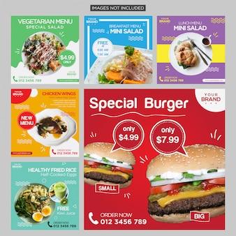 Kleurrijke voedsel sociale media post-ontwerpsjabloon premium vector