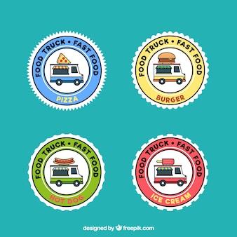 Kleurrijke voedsel vrachtwagen logo's met cirkelvormig ontwerp
