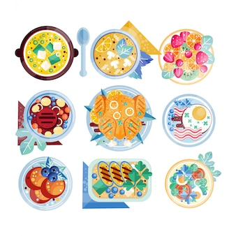 Kleurrijke voedselpictogrammen. borden met diverse gerechten. roerei met spek, champignonsoep, kip, biefstuk, fruit. voor restaurantmenu of mobiele app