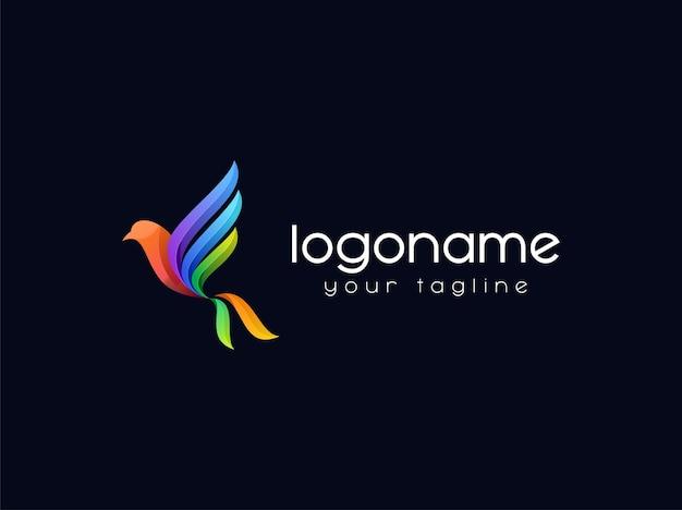 Kleurrijke vogel logo ontwerp premium vector