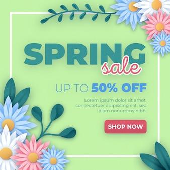 Kleurrijke voorjaarsverkoop in papieren stijl
