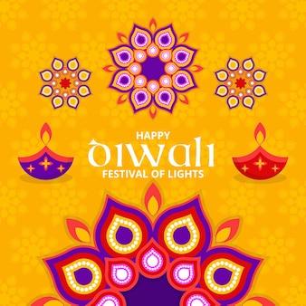 Kleurrijke vormen diwali plat ontwerp