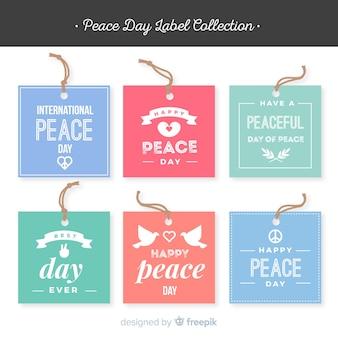 Kleurrijke vrede dag label collectie