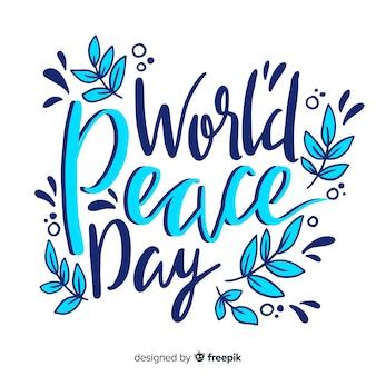 Kleurrijke vredesdag belettering achtergrond