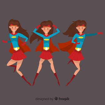 Kleurrijke vrouwelijke superheldencollectie met plat ontwerp