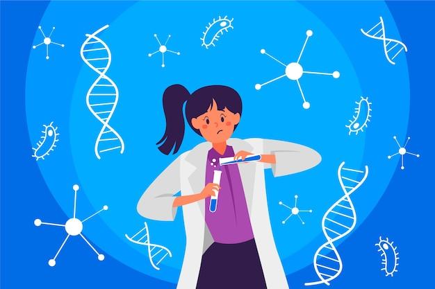 Kleurrijke vrouwelijke wetenschapperillustratie
