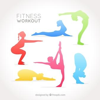 Kleurrijke vrouwen silhouetten doen stretching