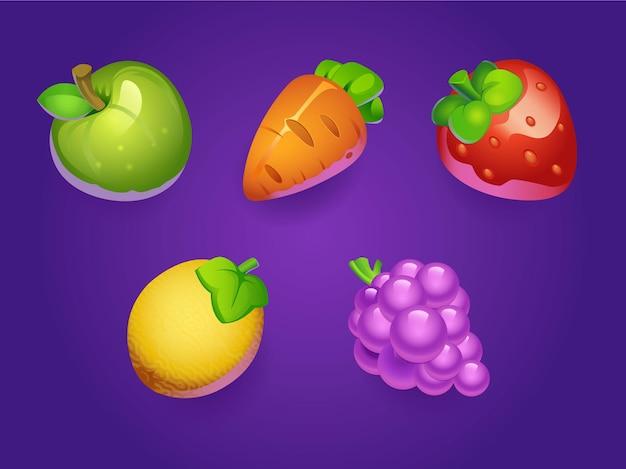 Kleurrijke vruchten voor game ui