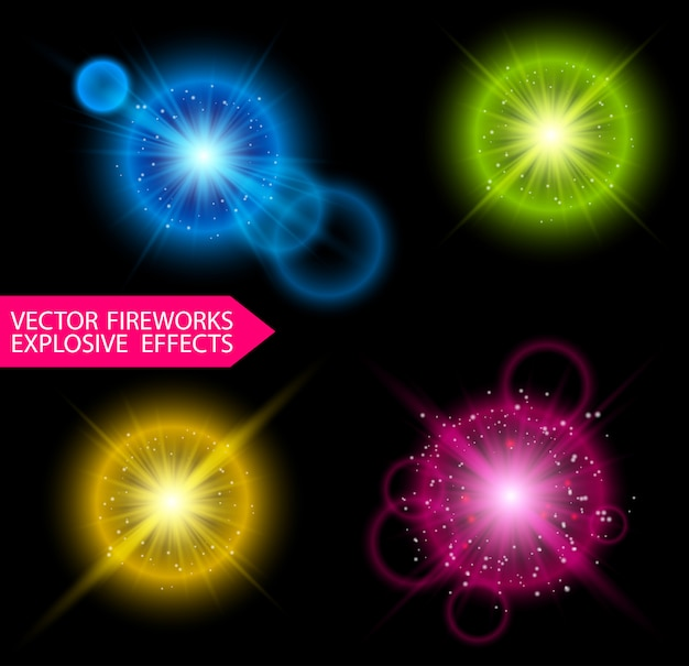 Kleurrijke vuurwerkexplosies met glitters en flare