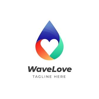 Kleurrijke waterdruppel liefde pictogram logo ontwerpsjabloon
