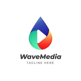 Kleurrijke waterdruppel play media logo ontwerpsjabloon