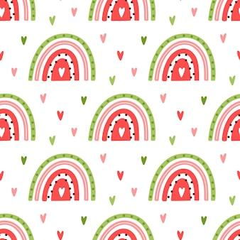 Kleurrijke watermeloen zoals regenboog naadloos patroon op witte achtergrond met rond harten