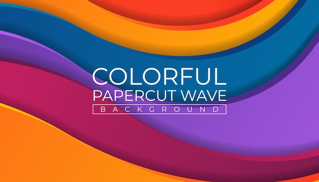 Kleurrijke wave papercut achtergrond