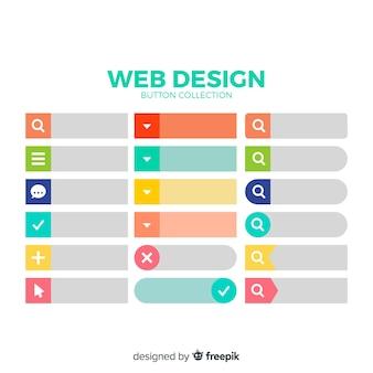 Kleurrijke web design knop collectie met platte ontwerp