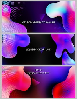 Kleurrijke webbanners met abstracte vloeibare vormen.