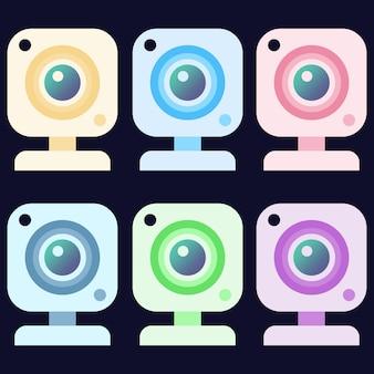 Kleurrijke webcam hd camera element pictogram game-troef
