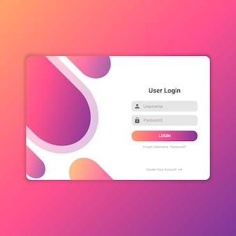 Kleurrijke website login ui ontwerpvector