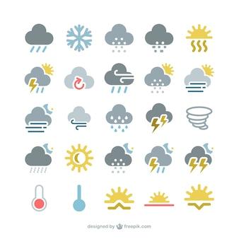 Kleurrijke weer iconen pack
