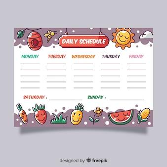Kleurrijke wekelijkse planningsmalplaatje met vlak ontwerp