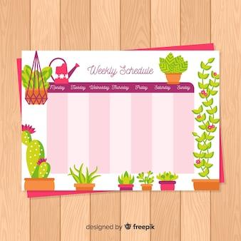 Kleurrijke wekelijkse schemasjabloon met mooie stijl