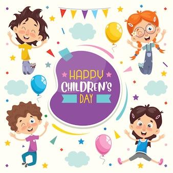 Kleurrijke wenskaart voor gelukkige kinderdag