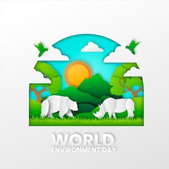 Kleurrijke wereldmilieudag in papierstijl