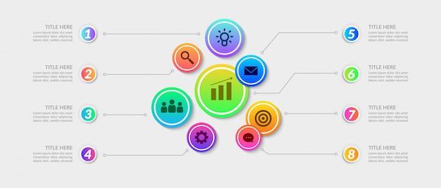 Kleurrijke werkstroom infographic elementen, bedrijfsprocesgrafiek met veelvoudige stap