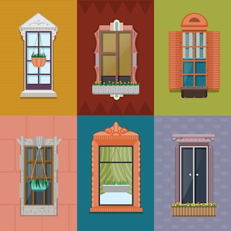 Kleurrijke windows set